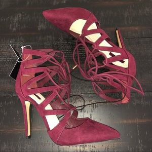 Burgundy Lace-up Heels